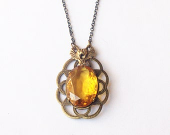 Bat necklace crystal jewel amber art nouveau gem antique style vintage brass citrine glass November birthstone Halloween