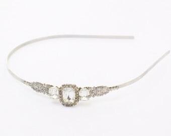 Edwardian crystal bridal headband silver vintage style crystal jewels ornate antique wedding hair accessory