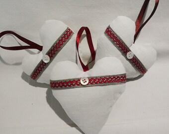 Linen Heart Lavender Sachets  - White Linen with a silk trim -  Herringbone -Set  of  3