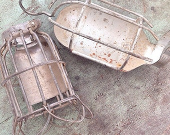 Don't Cage Me In... Two Vintage Industrial Cage Light Guards Hanging Trouble Light Cage