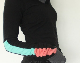 extra long sleeved hooded top Black with Mint/Coral Pink/Cement Grey color block