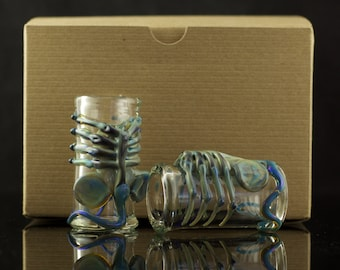 Facehugger Shot Glass Set of 2 Hand Blown in You Choose the Color, Made to Order