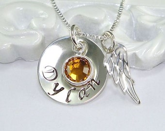 Remembrance Jewelry, Angel Wing, Memorial Jewelry, Personalized Necklace, Hand Stamped, Sterling Silver, Birthstone, Mother, Faith, Sympathy