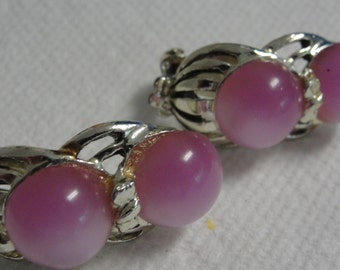 Lavender and Silver Tone Clip Earrings