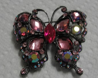 Sparkling PInk Butterfly Brooch