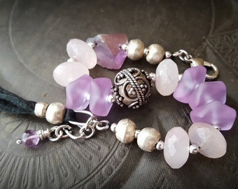 Sea Glass, Sterling Silver, African Beads, Rose Quartz, Fluorite, Pearls, Leather Tassel, Pearl, Beaded Bracelet