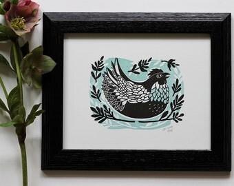 Spring Chicken Print | Chicken Art | Chicken Folk Art | Linocut Hen Print | Backyard Chicken | Henny Penny | Letterpress Print | Kitchen Art