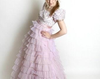ON SALE Vintage Wedding Dress 1960s Nadine Pretty Pink Lavender Pastel Prom Medium Sweetheart