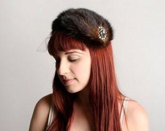ON SALE Vintage 1950s Mink Fur Hat with Rhinestone Brooch and Veil - Vogue Mont - Topper Tilt Hat