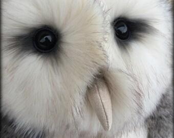 Lofton the OWL - faux fur soft sculpture owl KIT