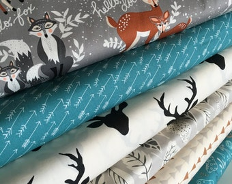 Hello Bear fabric bundle by Bonnie Christine, Deer Fabric, Art Gallery Fabric- Fabric Bundle of 6, Choose The Cuts, Free Shipping Available