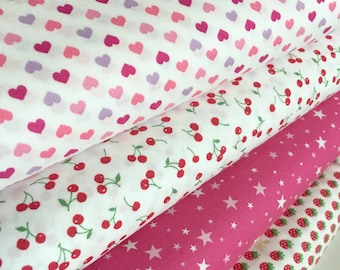 Japanese fabric bundle by Sevenberry, Popular fabric, Tiny prints great for Blythe doll clothes or mini quilt, Bundle of 4, Choose the cut