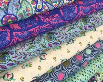 Slow and Steady fabric bundle by Tula Pink, Tortise and the Hare, Fairytale, Blue Raspberry Fabric Bundle of 8- You Choose the Cut