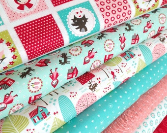 Red Riding Hood Fabric, Little Red fabric, Stacy Hsu, Novelty fabric, Kids fabric, Fabric by the Yard, Choose the Cut, Fabric bundle of 7