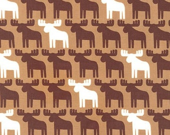 Moose Fabric, Boy fabric, Nature, Boy Nursery, Woodland Pals fabric by Ann Kelle for Robert Kaufman, Moose in Brown, Choose your cut
