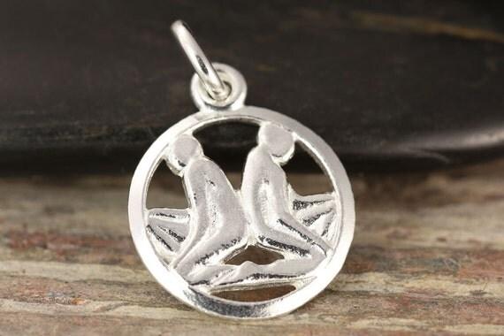 Gemini zodiac pendant in sterling silver - Twins necklace, zodiac necklace, zodiac jewelry, astrology