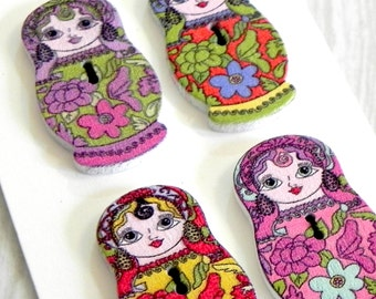 Russian doll decorative wooden buttons.