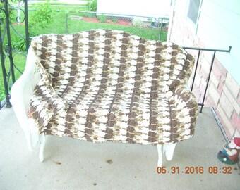 Chenille Crochet Afghan, brown crochet throw, brown crochet blanket,