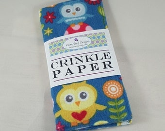 Crinkle Paper, Noise Making Toy for Babies, Owls, Girls, by Kaity-Bug Designs