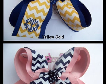 LARGE 2 Layer Monogrammed Uniform School Chevron Print Ribbon Hair Bow Karens Creations