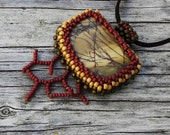 Beaded Cabochon Necklace - Branches - Bead Weaving - Statement Necklace - Jasper- Suede Cord BOHO
