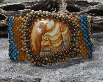 Free Form Peyote Stitch Beaded Bracelet Beaded Cuff - Beaded Cabochon - Bead Weaving  - Picture Jasper