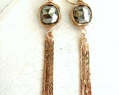 Pyrite Long Earrings Fringe earrings Statement earrings mixed metal dangles tassel earrings VitrineDesigns