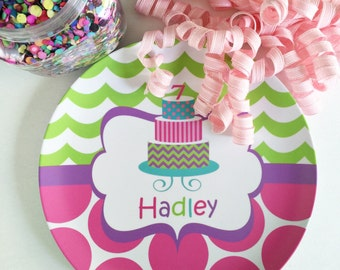 Personalized Melamine Birthday Plate - Monogrammed Plate - birthday cake plate