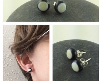 Black and Ivory Studs / Glass Studs / Elegant Earrings / Stud Earrings / Classy Jewelry / Fused Glass Jewelry / Simple Studs