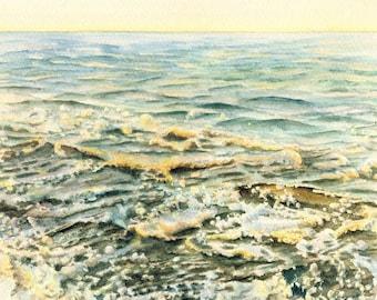 Original seascape watercolor painting, Sea and Sky III