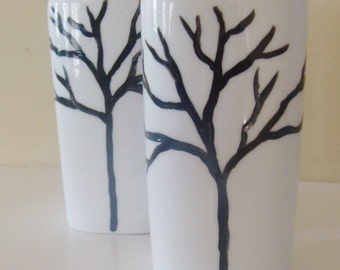 Tree Salt and Pepper Shakers, silhouette, black and white, trees, woodland tree,tree branches,nature forest,Hand Painted