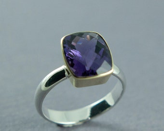 Dark Purple Amethyst Ring, Gold and Silver Ring, Rectangle Stone, 14K Gold,February Birthstone Ring,Made to Order,Free Courier Shipping