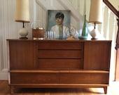 RESERVED FOR ALEX Danish Modern Buffet Server Credenza Bar Media Center Storage c1950s Cherrywood Vintage Retro