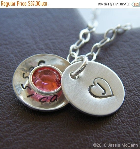 Valentines Day Sale Personalized Initial Necklace - Hand Stamped Sterling Silver Textured and Domed Charm Jewelry - Petite Cupola Deluxe wit
