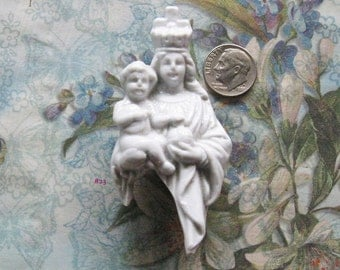 Mary & Infant of Prague German Doll Statue Fragment Antique Bisque Religious Figural Art Shrine Assemblage Relic