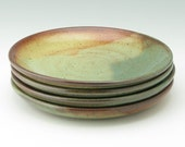 Pottery Lunch Plates Set of Four - Durable Robust Rustic Stoneware Salad Plates, Honey Brown and Sage Green Dishes Ready to Ship