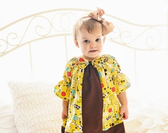 SALE Peasant Pattern Tops/Dresses with center insert- newborn - 12 girls 3/4 & long sleeves PDF Instant