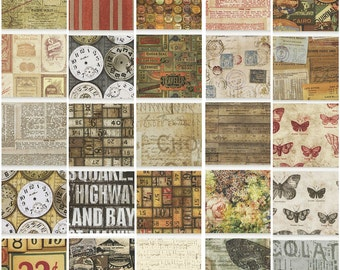 "Tim Holtz Eclectic Elements Foundations Precut 5"" Charm Pack Fabric Quilting Cotton Squares"