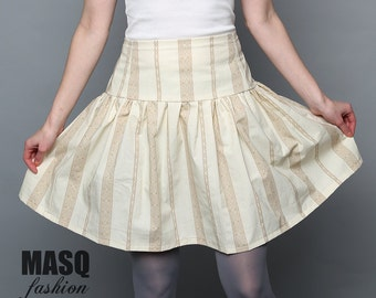 Ivory Steampunk skirt, printed with coffee lace, Ivory high waist corset skirt, Ivory skirt, Ivory steampunk lolita printed lace skirt