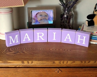 Personalized Name Letter Shelf Sitting Blocks Sign Stacking Blocks Children Family Words