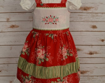 Girls Christmas Dress-Girls Boutique Dress-Girls Holiday Dress-Girls Floral Christmas Dress-Size 4-Special Occasion-Ready to Ship
