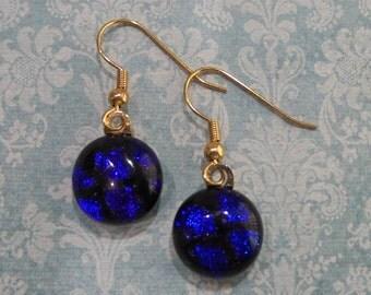 Blue Earrings, Blue Dangle Earrings, Hypoallergenic Earrings, Dichroic Fused Glass Jewelry - Amelia--6