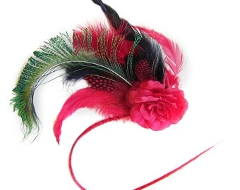 Elaborate Red Rose Hair Clip with Black Red and Peacock Feathers plus Striped Hair Extension by Velvet Mechanism