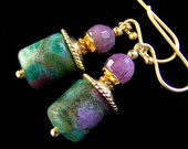 Natural Ruby and Ruby Fuchsite Earrings Gold Vermeil, Rustic Bohemian Tribal jewelry Green Pink faceted organic eco friendly PinkOwlJewelry