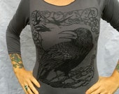 Raven Tshirt Crow Tree Gothic Grey Poe Made In USA Stretchy Cotton Womens Sizes Sm M L XL