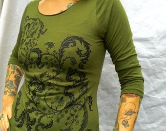 Green Exotic Fern Plant Tshirt Celtic 3/4 Sleeve Boatneck Tshirt Sizes: Sm & L