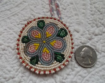Vintage Native American Hand Beaded Pendant Necklace