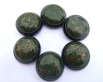 Buttons antique vintage green on black with goldcolor trim 30mm, 6pcs