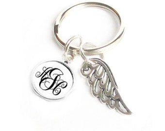 Angel Wing Monogram Initials KeyChain, Personalized Keychain, Gift for Her, gift for men