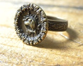 Dog head RING, Antique brass button - etched brass ring base